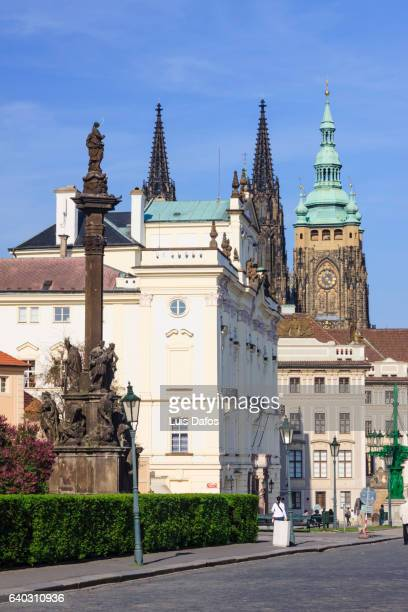 hradcany district and clock tower, prague - dafos stock photos and pictures