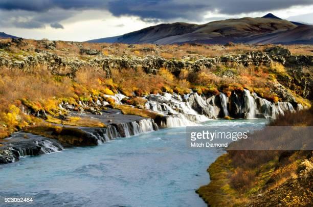 Hraunfossar Falls in the Autumn