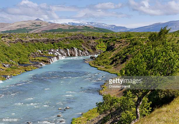 Hraunfossar, Ok Glacier at back, Husarfell, Iceland, Europe