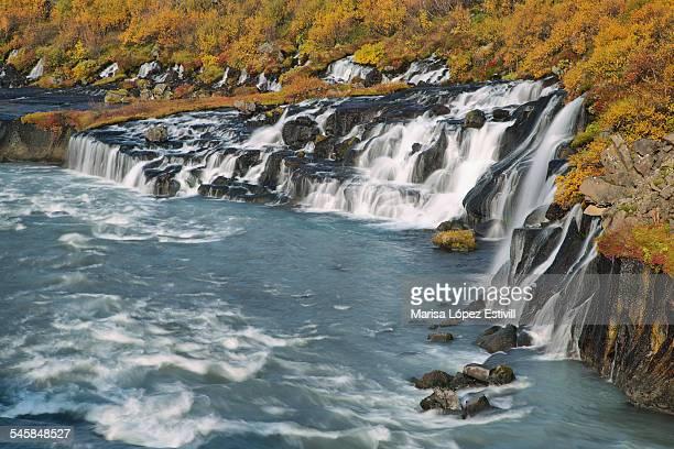Hraunfossar waterfall in autumn