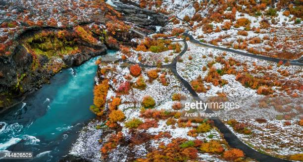 Hraunfossar waterfalls in the autumn, Borgafjordur, Iceland. This image is shot using a drone.