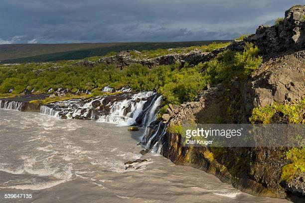 Hraunfossar, waterfalls of the river Hvita, near Husafell and Reykholt, Iceland