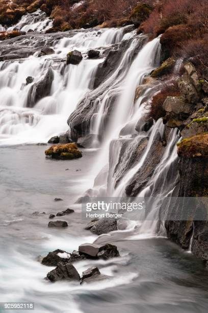 Hraunfossar, waterfalls, river Hvita, Vesturland, Western Region, Iceland