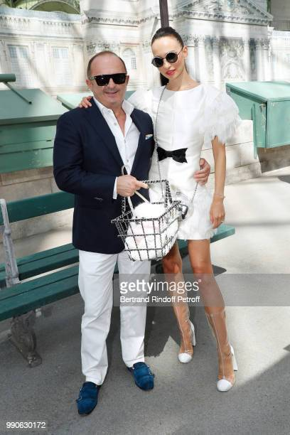 Hristo Hristov and Elena Sminova attend the Chanel Haute Couture Fall Winter 2018/2019 show as part of Paris Fashion Week on July 3 2018 in Paris...