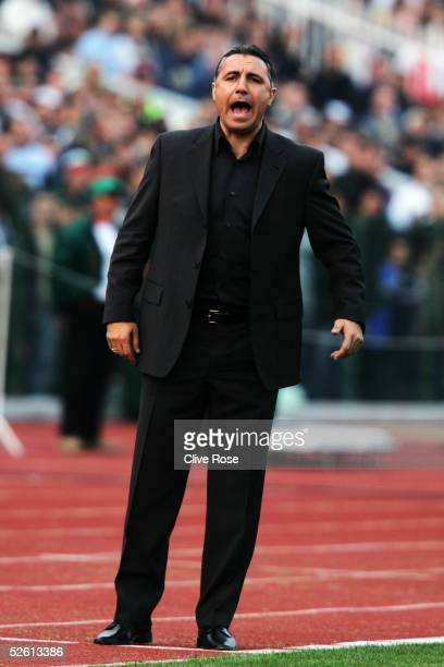 Hristo Stoichkov coach of Bulgaria shouts instructions during the Group 8 World Cup Qualifying match between Bulgaria and Sweden at the National...