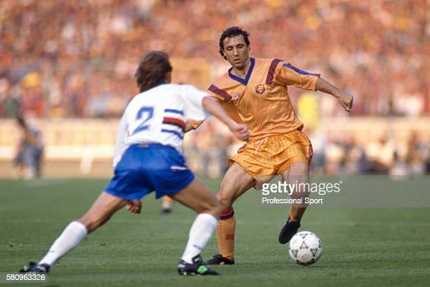 Hristo Stoichkov in action for Barcelona during the European Cup Final between Barcelona and Sampdoria at Wembley Stadium in London 20th May 1992...