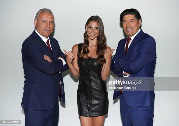 Hristo Stoichkov Lucia Villalon and Ivan Zamorano are seen on set during the Univision Deportes UEFA Campaign Behind The Scenes on August 16 2018 in...