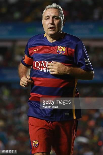 Hristo Stoichkov of Barcelona Legends runs in the field during the match between Leyendas de Mexico and FCB Legends at La Corregidora Stadium on...