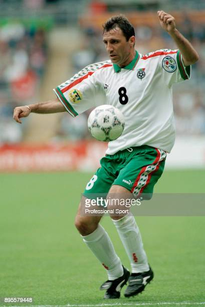 Hristo Stoichkov of Bulgaria in action during the UEFA Euro 96 group match between Romania and Bulgaria at St James Park on June 13 1996 in Newcastle...