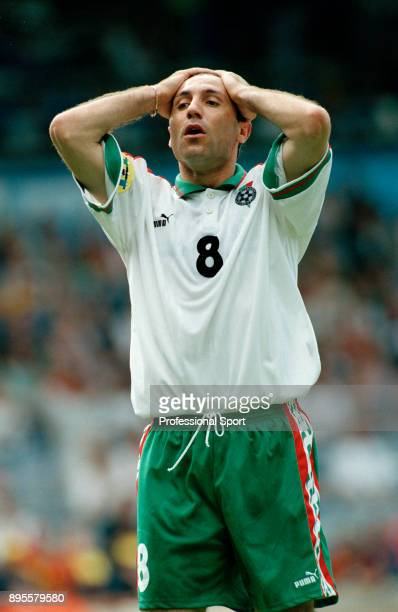 Hristo Stoichkov of Bulgaria reacts during the UEFA Euro 96 group match between Romania and Bulgaria at St James Park on June 13 1996 in Newcastle...