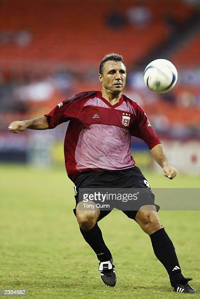 Hristo Stoitchkov of DC United controls the ball during the PreSeason Friendly match between DC United and Blackburn Rovers held on July 23 2003 at...