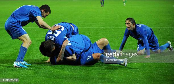 Hristo Yovov of Levski Sofia celebrates with teammates after scoring a goal during the Bulgarian A League match between PFC Levski Sofia and PFC...