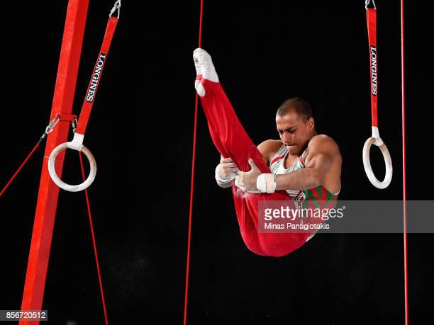 Hristos Marinov of Bulgaria competes on the rings during day one of the Artistic Gymnastics World Championships on October 2 2017 at Olympic Stadium...