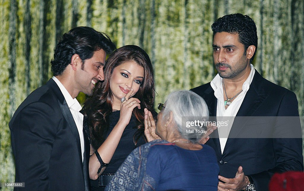 Hrithik Roshan Aishwarya Rai Bachchan Abhishek Bachchan and Leela Bhansali at the music launch of the film �Guzaarish� in Mumbai on October 20 2010