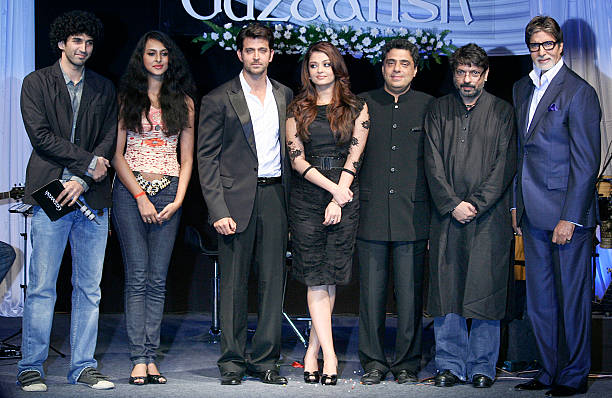 Hrithik Roshan Aishwarya Rai Bachchan Ronnie Screwvala Sanjay Leela Bhansali and Amitabh Bachchan at the music launch of the film �Guzaarish� in...