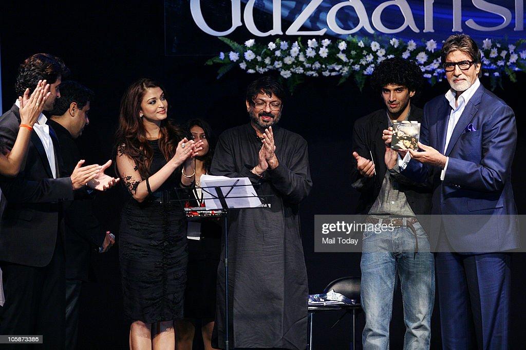 Hrithik Roshan Aishwarya Rai Bachchan Sanjay Leela Bhansali and Amitabh Bachchan at the music launch of the film �Guzaarish� in Mumbai on October 20..