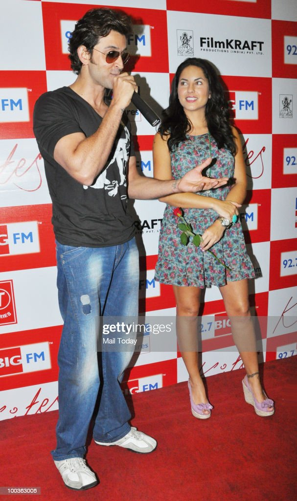 Hrithik Roshan and Barbara Mori at a promotional event for the film Kites in Mumbai on May 21, 2010.
