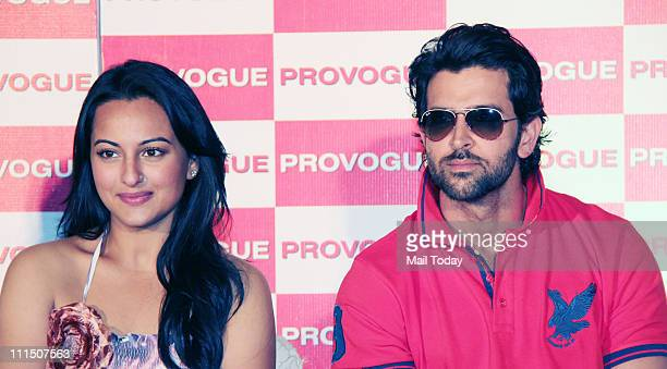 Hrithik Roshan and Sonakshi Sinha at the launch of Provogue's new 'Spring Summer Catalogue' at Novotel in Mumbai on 03rd April 2011