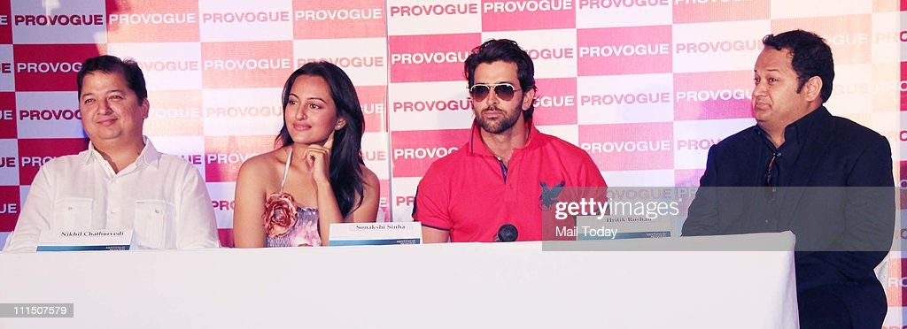 Hrithik Roshan and Sonakshi Sinha at the launch of Provogue`s new `Spring Summer Catalogue` at Novotel in Mumbai on 3rd April 2011