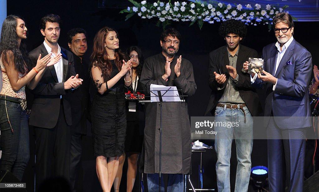 Hrithik Roshan Ronnie Screwvala Aishwarya Rai Bachchan Sanjay Leela Bhansali and Amitabh Bachchan at the music launch of the film �Guzaarish� in...