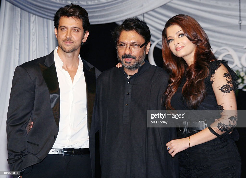 Hrithik Roshan Sanjay Leela Bhansali and Aishwarya Rai Bachchan at the music launch of the film �Guzaarish� in Mumbai on October 20 2010
