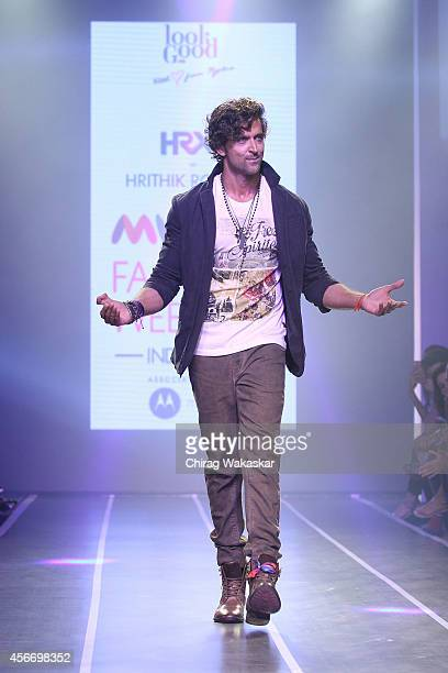 Hrithik Roshan walks the runway during day 3 of Myntra Fashion Weekend 2014 at The Palladium Hotel on October 5 2014 in Mumbai India
