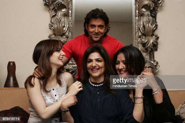 Hrithik Roshan with mother Pinki and sister and wife Susanne Khan at their residence in Juhu