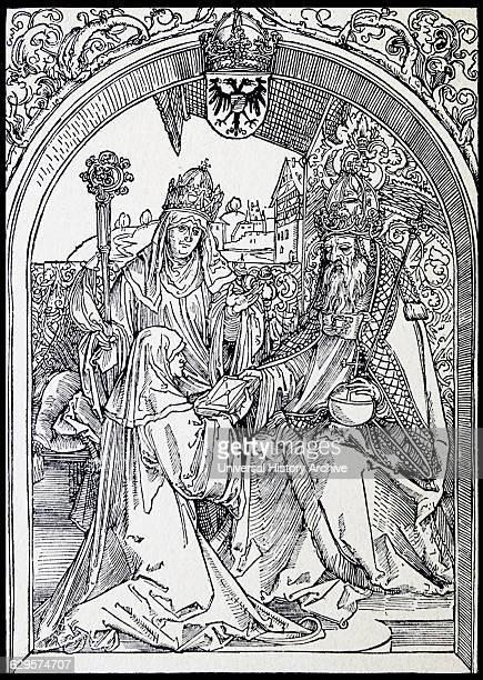 Hrotsvit presents Emperor Otto the Great with her Gesta Oddonis in the background Abbess Gerberga woodcut by Albrecht Dürer 1501 Hrotsvitha of...