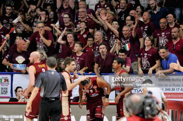 Hrvoje Peric Andrea De Nicolao Bruno Cerella Edgar Sosa of Umana celebrates during the LBA Legabasket of Serie A match play off semifinal game 1...