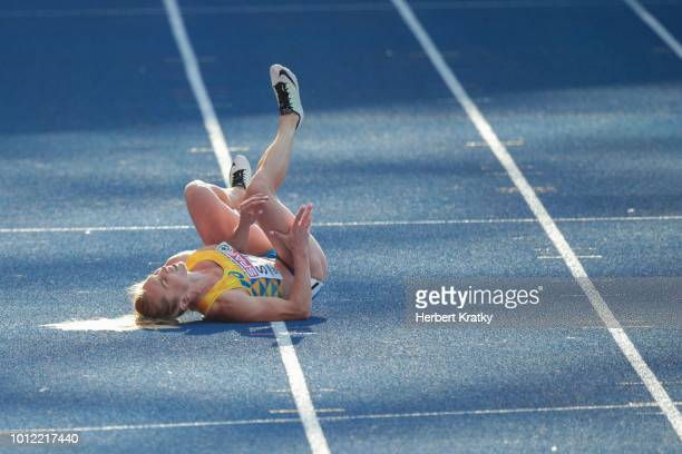 Hrystyna Stuy of Ukraine hurts herself in heat 1 of the 100m women qualification at Olympiastadion on August 6 2018 in Berlin Germany
