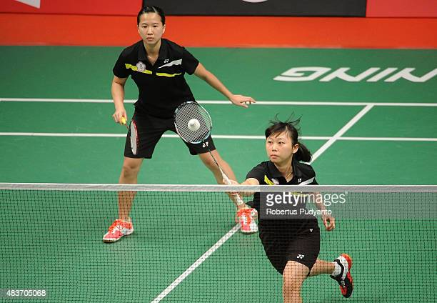 Hsieh Pei Chen and Wu Ti Jung of Taipei compete against Jwala Gutta and Ashwini Ponnappa of India in the 2015 Total BWF World Championship at Istora...