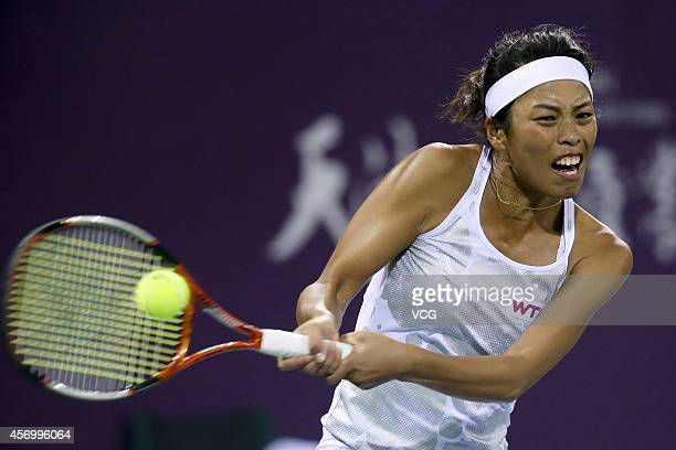 Hsieh Su Wei of Chinese Taipei returns a shot in the quarter-final match against Belinda Bencic of Switzerland during day five of Tianjin Open at...