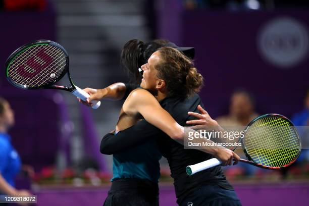 Hsieh Su-Wei of Taiwan and Barbora Strycova of Czech Republic celebrate after victory against Jelena Ostapenko of Latvia and Gabriela Dabrowski of...