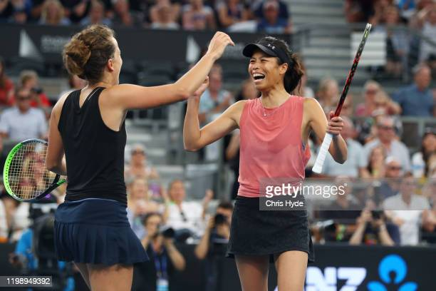 Hsieh Suwei of Taiwan and Strycova Barbora of the Czech Republic celebrate winning the doubles final match against Ashleigh Barty of Australia and...