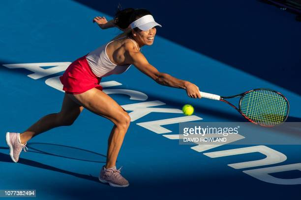 Hsieh Suwei of Taiwan hits a return in her women's singles semifinal match against Bianca Andreescu of Canada during the ASB Classic tennis...