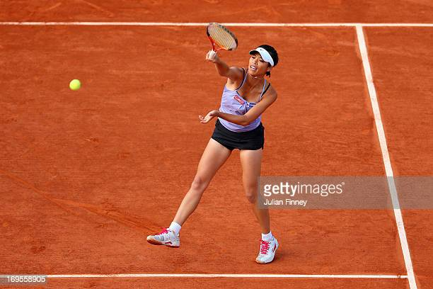 Hsieh Suwei of Taiwan in action during her Women's Singles match against Maria Sharpova of Russia of during day two of the French Open at Roland...