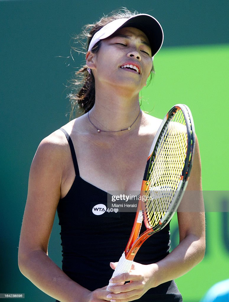 Hsieh Su-Wei reacts after missing a shot against Agnieszka Radwanska as they play the second set in a second-round match during the Sony Open tennis tournament at Crandon Park in Key Biscayne, Florida, Wednesday, March 20, 2013.