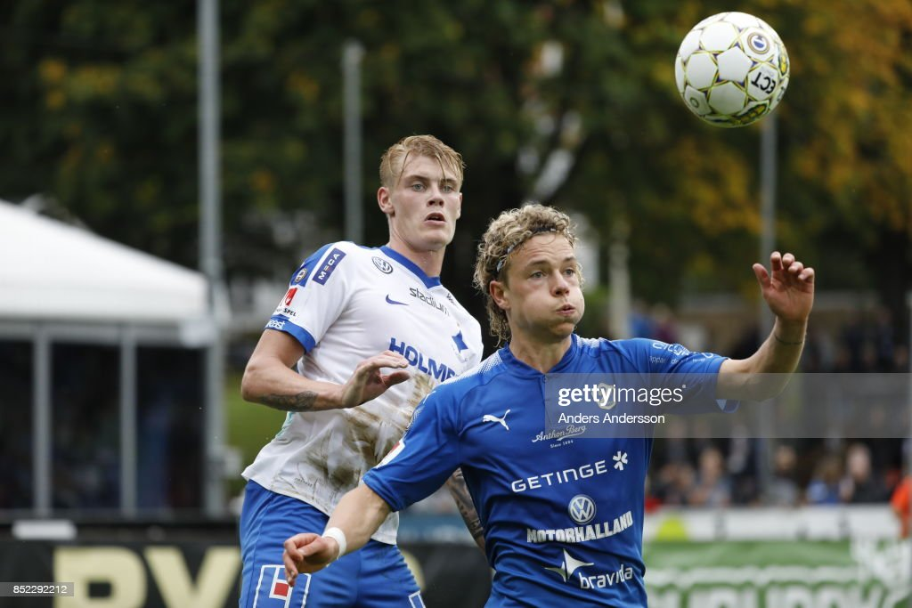 Höskuldur Gunnlaugsson of Halmstad BK and Eric Smith of IFK Norrkoping competes for the ball at Orjans Vall on September 23, 2017 in Halmstad, Sweden.