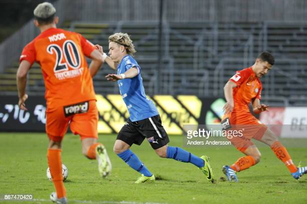 Höskuldur Gunnlaugssonof Halmstad BK runs with the ball during the Allsvenskan match between Halmstad BK and Athletic FC Eskilstuna at Orjans Vall on...