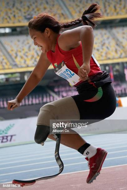 Htoo Chel Htwe of Myanmar competes in the Women Long Jump T44 Final during the 2017 ASEAN Para Games at the Bukit Jalil National Stadium on September...