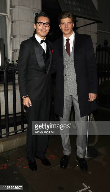 Hu Bing and Toby HuntingtonWhiteley seen attending LFW a/w 2020 GQ Dinner on January 06 2020 in London England