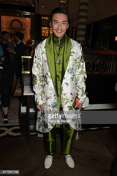 Hu Bing attends the GQ London Collections Men closing party hosted by Dylan Jones at Massimo Restaurant Oyster Bar in Corinthia London on June 15...