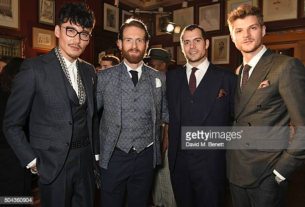 Hu Bing Craig McGinlay Henry Cavill wearing dunhill and Jim Chapman wearing dunhill attend dunhill's Autumn Winter 2016 Collection Presentation LCM...