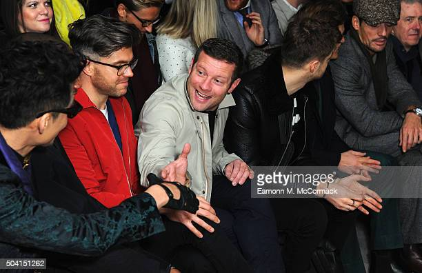 Hu Bing Darren Kennedy Dermot O'Leary Jim Chapman and David Gandy attend the ETautz show during The London Collections Men AW16 at 108 The Strand on...