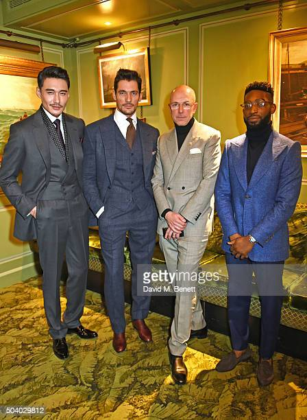 Hu Bing David Gandy Dylan Jones and Tinie Tempah attend a cocktail reception hosted by the Woolmark Company Pierre Lagrange and the Savile Row...