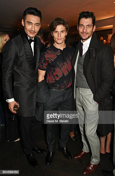 Hu Bing Oliver Cheshire and David Gandy attend the London Collections Men AW16 closing dinner hosted by GQ editor Dylan Jones and LCM Ambassadors at...
