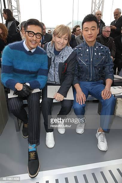 Hu Bing Tetsuya Komuro and Dawel Tong attend the Louis Vuitton Menswear Fall/Winter 20152016 Show as part of Paris Fashion Week on January 22 2015 in...