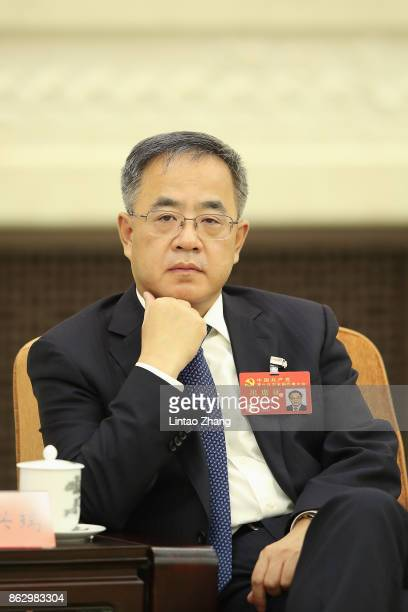 Hu Chunhua Secretary of the CPC Guangdong Provincial Committee attends a meeting of the 19th Communist Party Congress at the Great Hall of the People...