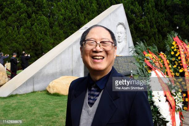 Hu Dehua, the third son of Hu Yaobang, speaks to the Asahi Shimbun reporter during the memorial on the 30th anniversary of the death of Chinese...