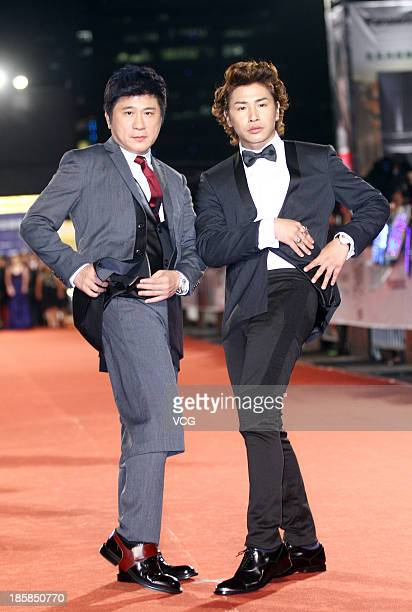 Hu Gua and Eddy Ou attend the red carpet of the 48th Golden Bell Award on October 25 2013 in Taipei Taiwan of China